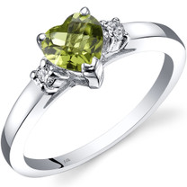 14K White Gold Peridot Diamond Heart Ring 1.00 Carat