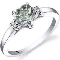 14K White Gold Green Amethyst Diamond Heart Ring 0.75 Carat