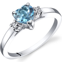 14K White Gold Swiss Blue Topaz Diamond Heart Ring 1.00 Carat