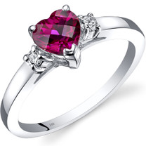14K White Gold Created Ruby Diamond Heart Ring 1.00 Carat