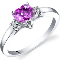 14K White Gold Created Pink Sapphire Diamond Heart Ring 1.00 Carat