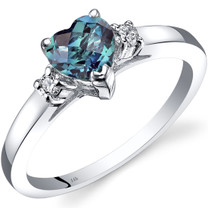 14K White Gold Created Alexandrite Diamond Heart Ring 1.00 Carat