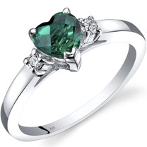 14K White Gold Created Emerald Diamond Heart Ring 0.75 Carat