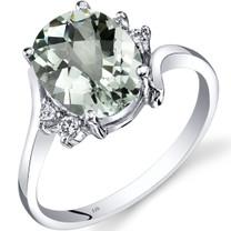 14K White Gold Green Amethyst Diamond Bypass Ring 2.25 Carat