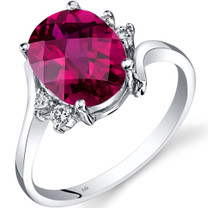 14K White Gold Created Ruby Diamond Bypass Ring 3.50 Carat