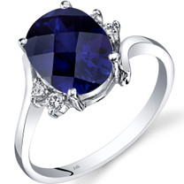 14K White Gold Created Sapphire Diamond Bypass Ring 3.50 Carat