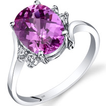14K White Gold Created Pink Sapphire Diamond Bypass Ring 3.50 Carat