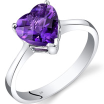 14K White Gold Amethyst Heart Solitaire Ring 1.50 Carat