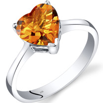 14K White Gold Citrine Heart Solitaire Ring 1.50 Carat
