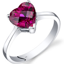 14K White Gold Created Ruby Heart Solitaire Ring 2.25 Carat