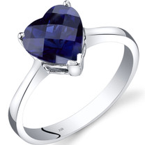 14K White Gold Created Sapphire Heart Solitaire Ring 2.50 Carat