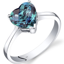 14K White Gold Created Alexandrite Heart Solitaire Ring 2.25 Carat