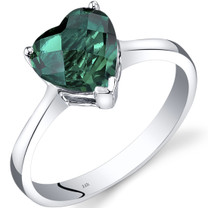 14K White Gold Created Emerald Heart Solitaire Ring 1.50 Carat