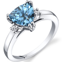 14K White Gold Swiss Blue Topaz Diamond Ring Trillion Cut 2.00 Carat