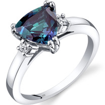14K White Gold Created Alexandrite Diamond Ring Trillion Cut 2.00 Carat