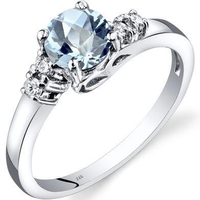 14K White Gold Aquamarine Diamond Solstice Ring