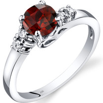 14K White Gold Garnet Diamond Solstice Ring