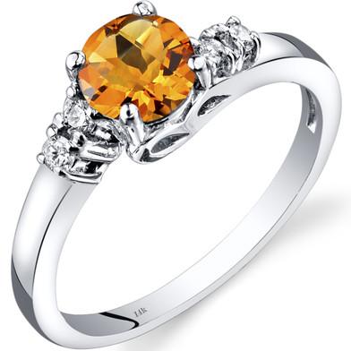 14K White Gold Citrine Diamond Solstice Ring