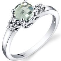 14K White Gold Green Amethyst Diamond Solstice Ring