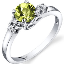 14K White Gold Peridot Diamond Solstice Ring