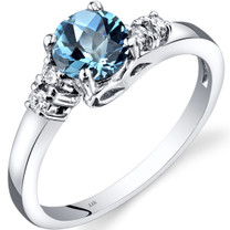 14K White Gold Swiss Blue Topaz Diamond Solstice Ring