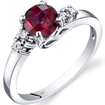 14K White Gold Created Ruby Diamond Solstice Ring