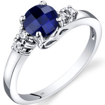 14K White Gold Created Sapphire Diamond Solstice Ring