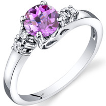 14K White Gold Created Pink Sapphire Diamond Solstice Ring