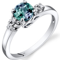 14K White Gold Created Alexandrite Diamond Solstice Ring