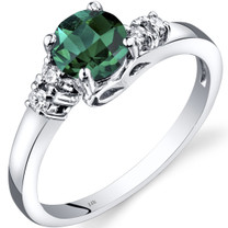 14K White Gold Created Emerald Diamond Solstice Ring