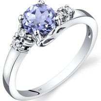 14K White Gold Tanzanite Diamond Solstice Ring