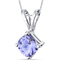14 Karat White Gold Cushion Cut 1.00 Carats Tanzanite Pendant Necklace
