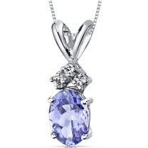 14 Karat White Gold Oval Shape 0.75 Carats Tanzanite Diamond Pendant Necklace