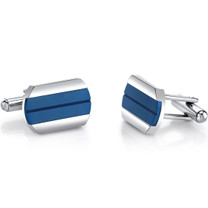 Cool Artic Blue Stripe Polished Stainless Steel Cufflinks SC1078