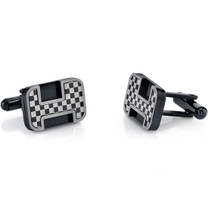 Black Base Chessboard Design Stainless Steel Cufflinks SC1082