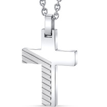 Two-Tone Razor Cut Stainless Steel Cross Pendant with 22 inch Necklace SN11132