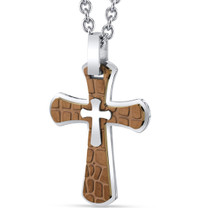Copper Cobblestone Stainless Steel Cross Pendant with 22 inch Necklace SN11142