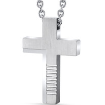 Abstract Modern Stainless Steel Cross Pendant with 22 Inch Necklace  SN11144