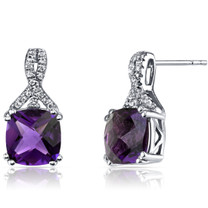14K White Gold Amethyst Earrings Ribbon Design Cushion Cut 4.00 Carats