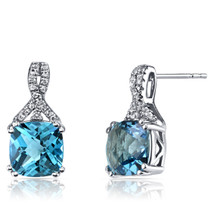 14K White Gold Swiss Blue Topaz Earrings Ribbon Design Cushion Cut 5.00 Carats