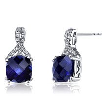 14K White Gold Created Sapphire Earrings Ribbon Design Cushion Cut 6.00 Carats