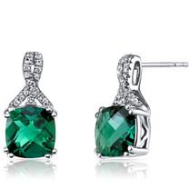 14K White Gold Created Emerald Earrings Ribbon Design Cushion Cut 3.50 Carats