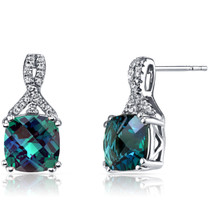 14K White Gold Created Alexandrite Earrings Ribbon Design Cushion Cut 5.00 Carats