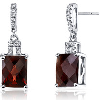 14K White Gold Garnet Earrings Radiant Checkerboard Cut 5.50 Carats
