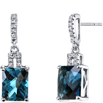 14K White Gold London Blue Topaz Earrings Radiant Checkerboard Cut 5.00 Carats