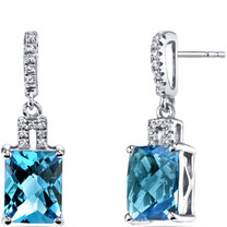 14K White Gold Swiss Blue Topaz Earrings Radiant Checkerboard Cut 5.00 Carats