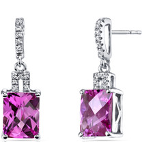 14K White Gold Created Pink Sapphire Earrings Radiant Checkerboard Cut 6.00 Carats