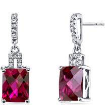 14K White Gold Created Ruby Earrings Radiant Checkerboard Cut 6.00 Carats
