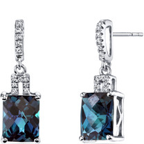 14K White Gold Created Alexandrite Earrings Radiant Checkerboard Cut 5.25 Carats