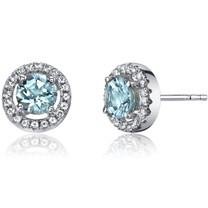 14K White Gold Aquamarine Halo Earrings Round Cut 0.75 Carats